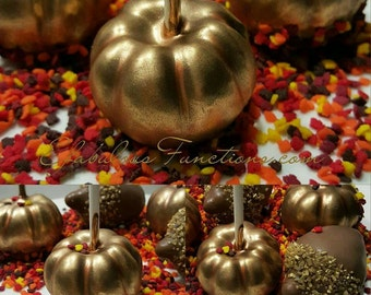 Pumpkin Cake Pops, Pumpkins, Gold Cinderella, Thanksgiving