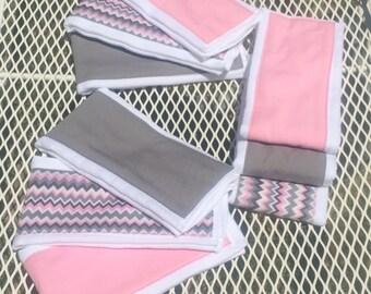Pink & Gray Burp Cloths