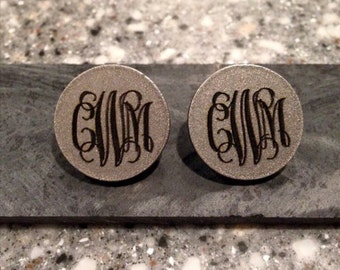 Engraved Monogrammed Stud Earrings