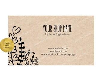 Printable business card, premade business card, kraft business card, digital business card, vistaprint, whimsical, kraft