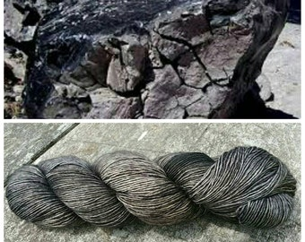 Hand Dyed Yarn, Ultra Soft Single Ply Merino Fingering Weight Tonal Yarn Perfect for Shawls and Other Special Accessories - Obsidian