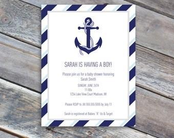 Baby Shower Invitation - Baby boy Nautical theme