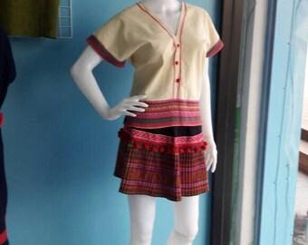 Boho top and skirt hill tribe Thai  dress handmade cotton boho dress