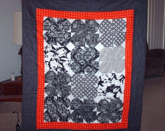 Classic Black, White and Red lap quilt - a handmade throw blanket