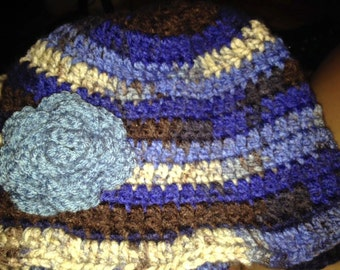 Blue Multi-Color hat with Crochet flower