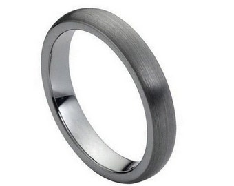 Men & Women's Tungsten Carbide Brushed Domed Classic Style 4mm Wedding Band | Promise Ring | Anniversary Gift