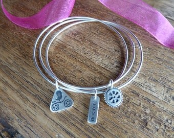 Bike Jewelry Sterling Silver Triple Bangle Bracelet w/Signature Charms// gifts for cyclists // bike gifts // bicycle gifts
