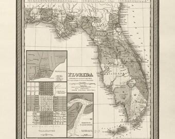 Florida Map - Vintage - Circa 1849