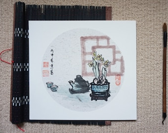 Chinese ink painting- relaxing time-flowers,narcissus, tea, zen, 25x27cm, Home decoration