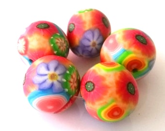 5 polymer clay beads, floral mix, multi colored, Millefiori, romantic, Rainbow, Rainbow