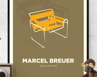 Marcel Breuer, Wassily Chair, Chair Print, Mid Century Modern, Poster, Wall Art, Hungarian design,Retro,Art Print,Icon,Design, Designer,