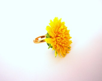"Ring ""Dandelion"" from polymer clay"