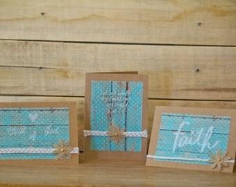 Rustic Teal Greeting Cards