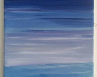 "Acrylic painting ""evening winter"""