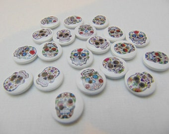 Clearance! 20 Sugar Skull Wood Buttons : Crafts Scrapbooking Sewing - #130