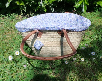 Straw basket and its interchangeable cover liberty of Anjo Sky blue