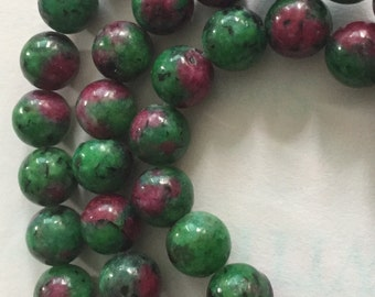 8mm Ruby Zoisite Gemstone Beads (20 beads)