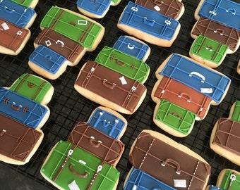Travel, Explore, Luggage Sugar Cookies
