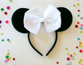 Minnie Mouse Ears- WHITE RIBBON BOW