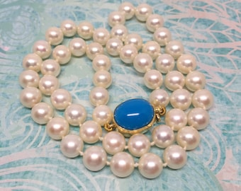 Genuine Akoya Pearl necklace with 18k Turquoise clasp, great for wedding and special occasion