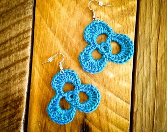 Turquoise crochet earrings