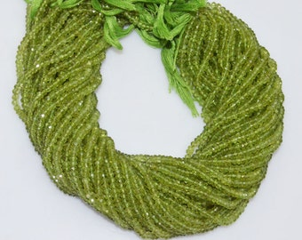 "AAA Quality Peridot Rondelle Beads 13"" Strand ,Peridot Faceted Rondelle Beads , 4.50 mm - MC441"