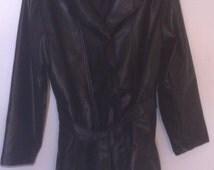 Vintage Ladies Black Vinyl Jacket, Kathy Ireland, Vintage Look, Sexy Look, Belt around the Waist, Vintage Jacket, Ladies Black XL Jacket