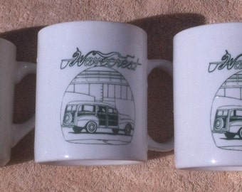 3 Vintage 1992 Coffee Cups with Wavecrest Woody Car and Surfboards, double sided, Woody Wagon, Surfing, Surfboards, Elvis Presley, Aloha