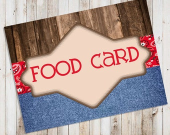 Western Party Food Card
