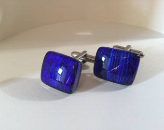Blue stripped cuff links