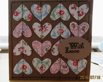 Hand crafted machine sewn greetings birthday card with Cath Kidston fabric hearts