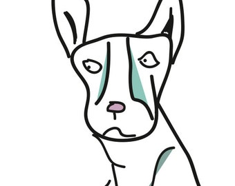 Modern Hipster Drawn Dog, Digital Download