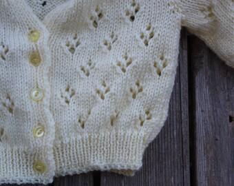 Delicate Yellow Eyelet Handknit Cardigan