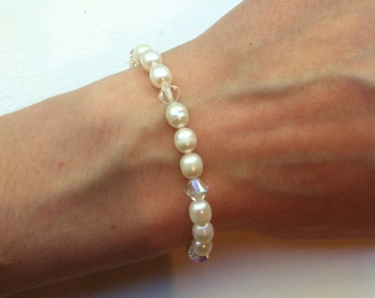 Swarovski and Freshwater Pearls Bracelet, Swarovski Bracelet, White Pearls Bracelet