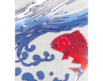 Rienzome Sea Bream Design Chusen Tenugui Towel