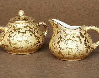 Vintage Collectible Weeping Bright Gold Ceramic Sugar and Creamer Set