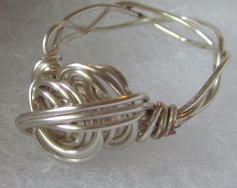 Sterling Silver Plated Wire Wrapped Free Form Ring size 8