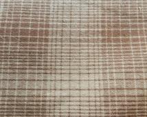 Beige/ brown plaid homespun fabric