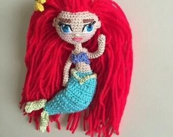 Amigurumi doll crochet mermaid Ariel with Flounder