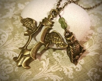 Owl Necklace / Cross Necklace / Vintage Necklace / Charm Necklace / Bronze Necklace