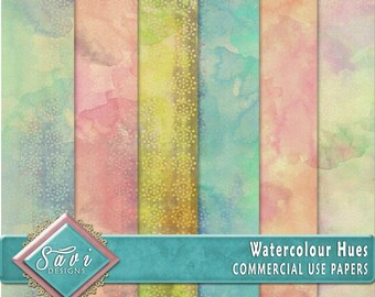 CU Commercial Use Background Papers set of 6 for Digital Scrapbooking or Craft projects WATERCOLOUR HUES, Designer Stock Papers