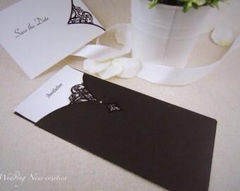 Black Laser Cut Diamante Wedding Stationery