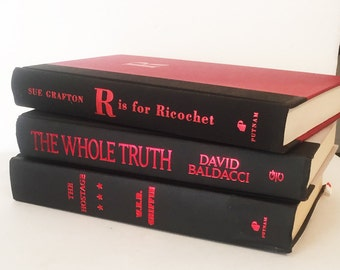 Red and Black hardback books, set of 3 books, Home Library Books, Office Decor