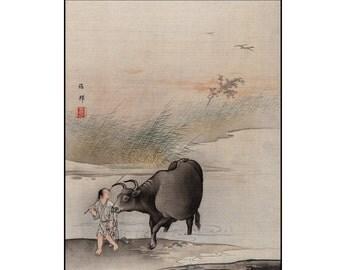 Japanese Style Print - Landscape Digital - Japanese Vintage Print - Japanese Wall Art - Digital Download - Digital Print - Hashimoto Gaho