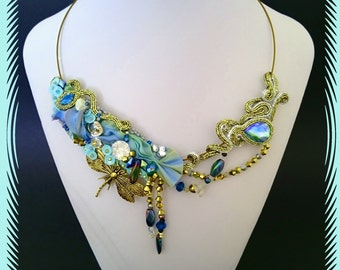 Shibori necklace, soutache necklace, silk, gold and blue, bridal, gift, baterflay, statement jewelry, embriodiery necklace,