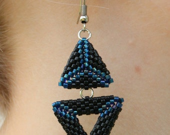 Earrings blue and black triangles