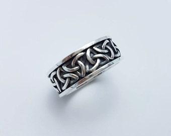 Celtic V.1, Silver Celtic Ring, 925 Sterling Silver,Black