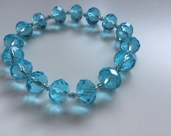 Handmade Glass Beaded Bracelet in Blues
