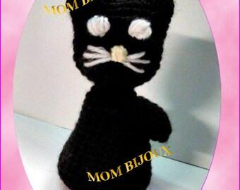 BLACK CAT-Amigurumi-crochet-Crochet-black cat black cat Amigurumi-Kawaii plush toy Baby gift ideas
