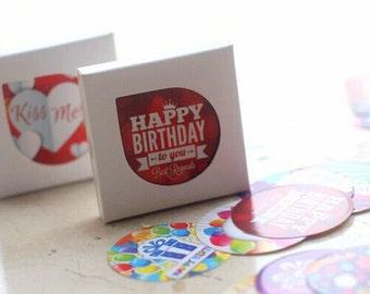 Happy Birthday Sticker Set / Set of 38 Cute Birthday Stickers